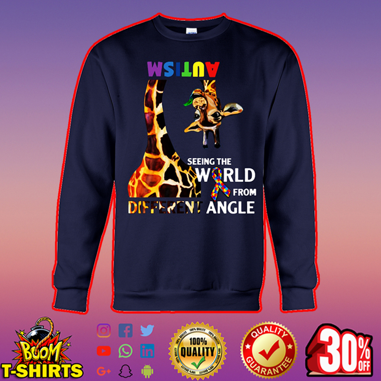 Giraffe autism seeing the world from different angle sweatshirt