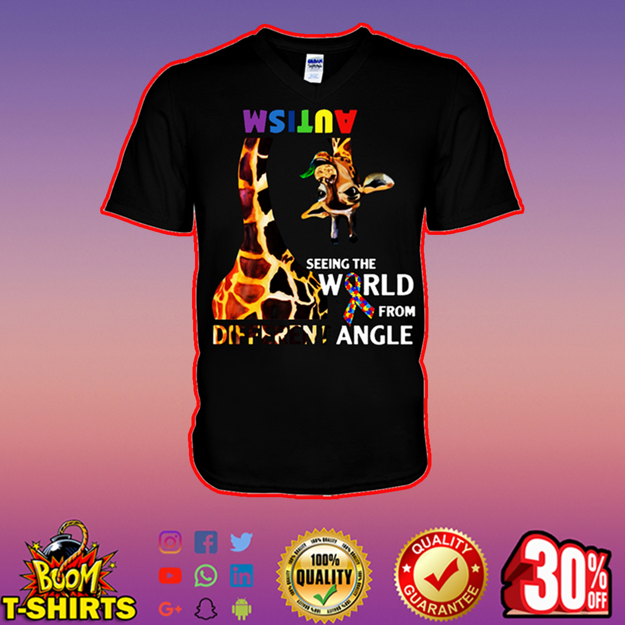 Giraffe autism seeing the world from different angle v-neck
