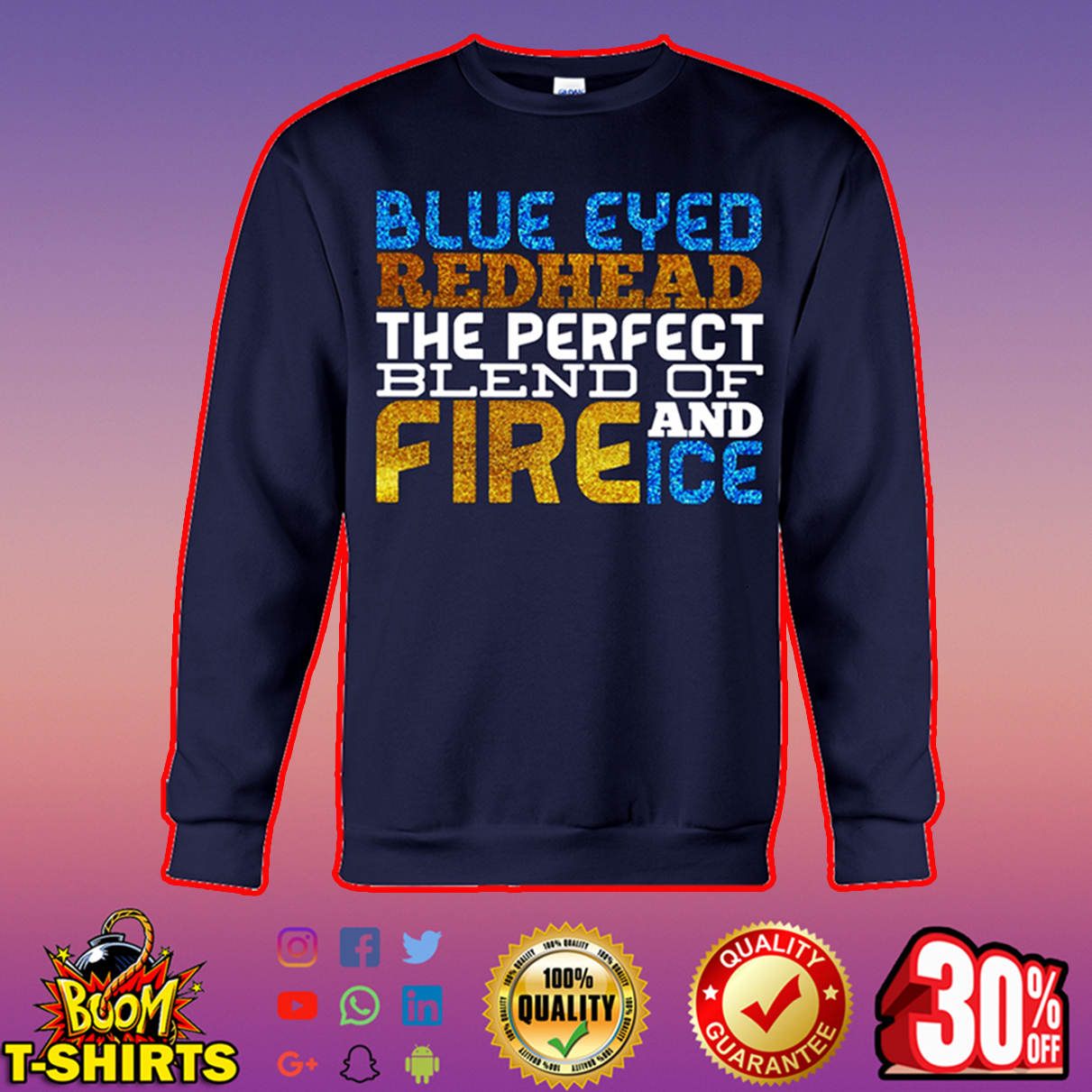 Glitter Blue eyed redhead the perfect blend of fire and ice sweatshirt