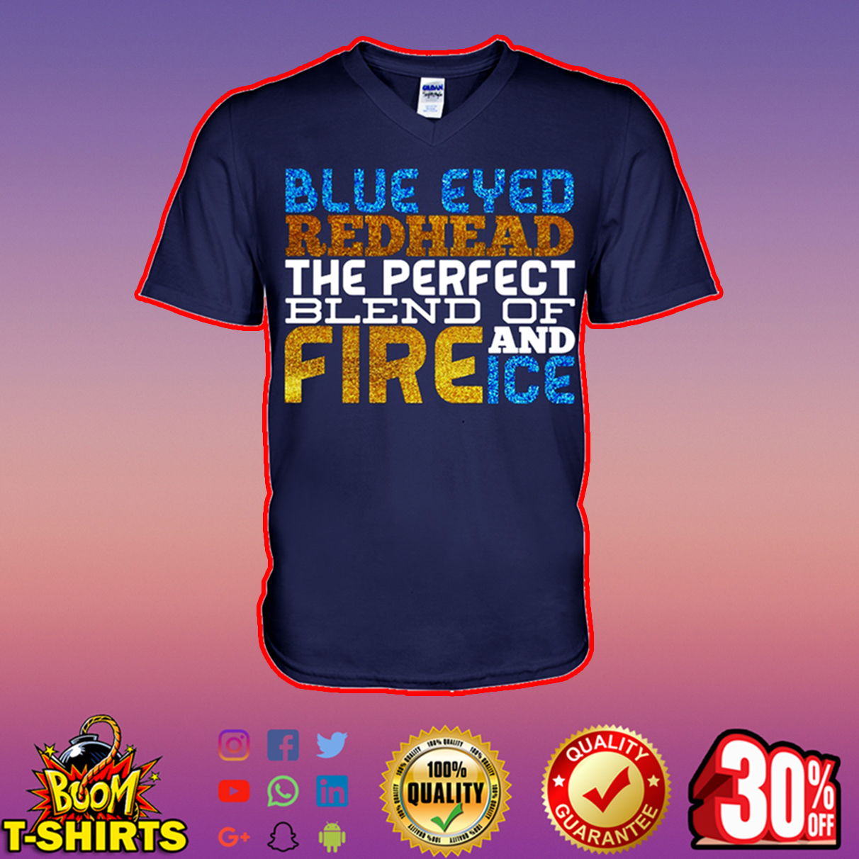 Glitter Blue eyed redhead the perfect blend of fire and ice v-neck
