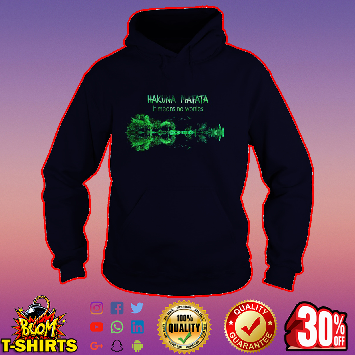 Hakuna Matata it means no worries guitar hoodie