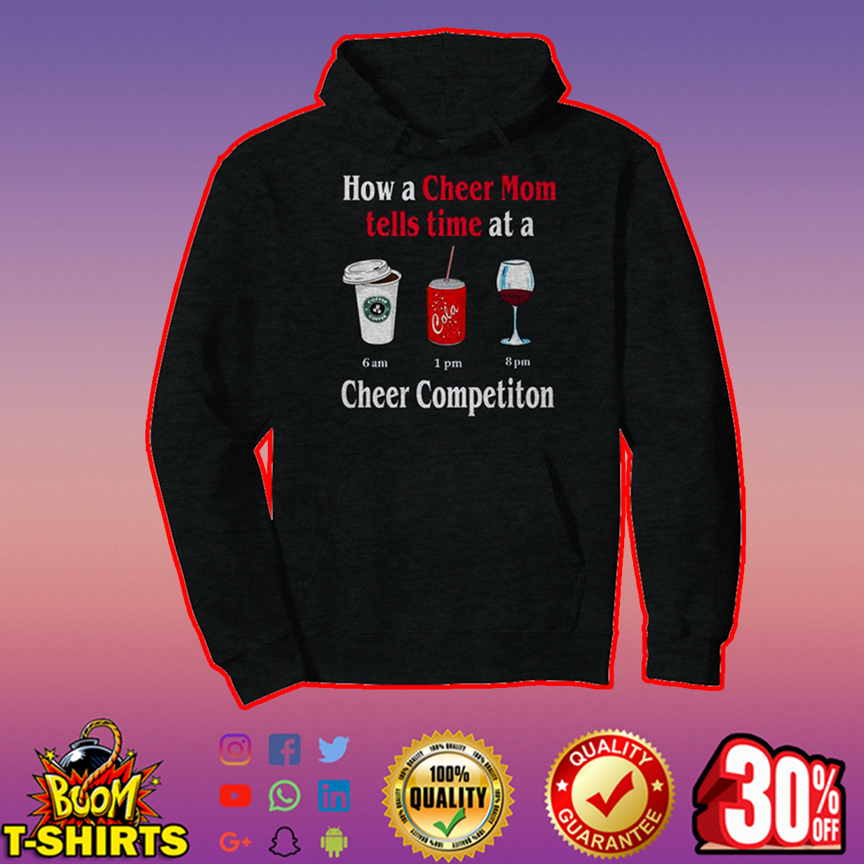 How a cheer mom tells time at a coffee 6 am cola 1 pm wine 8 pm cheer competiton hoodie