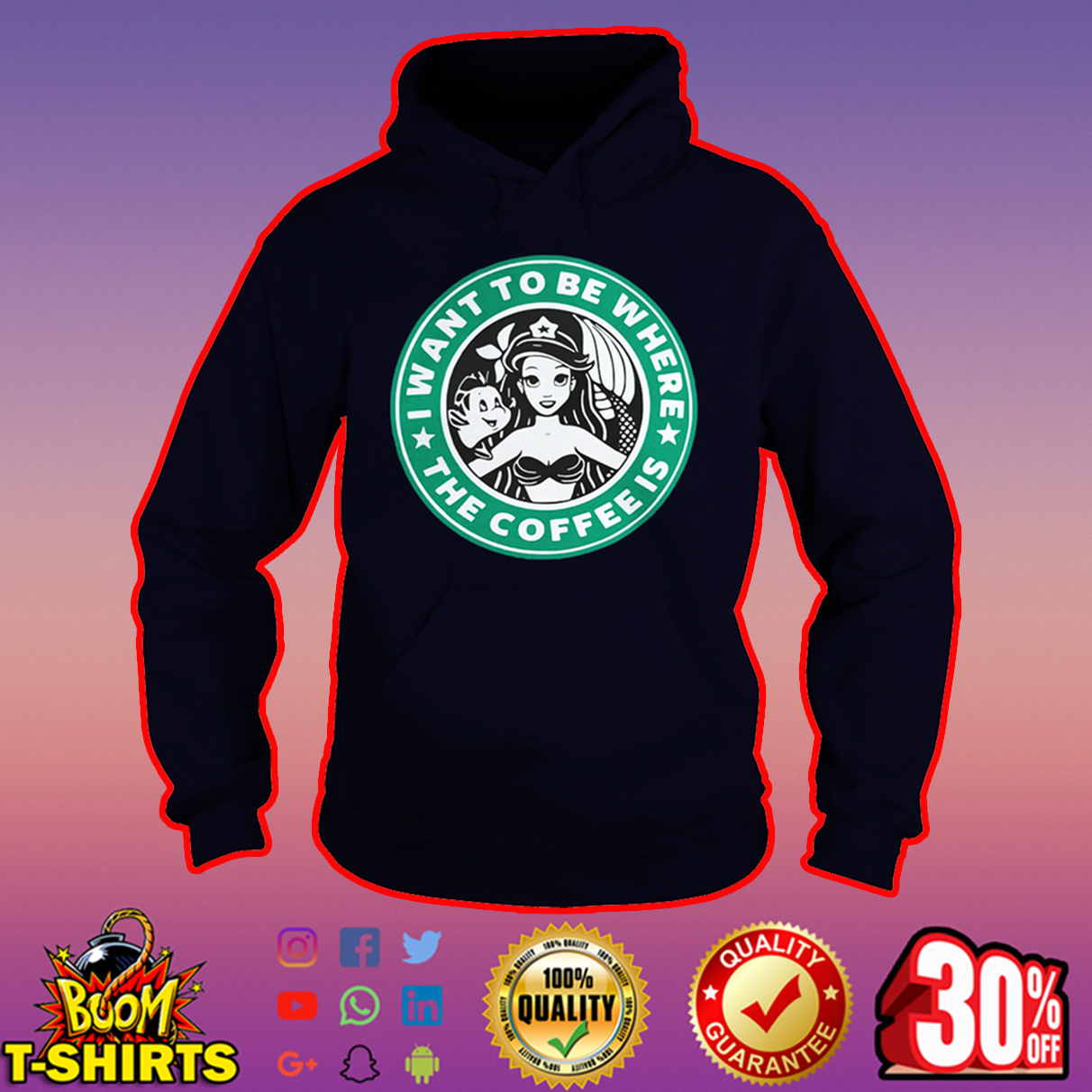 I want to be where the coffee is Ariel Starbucks hoodie