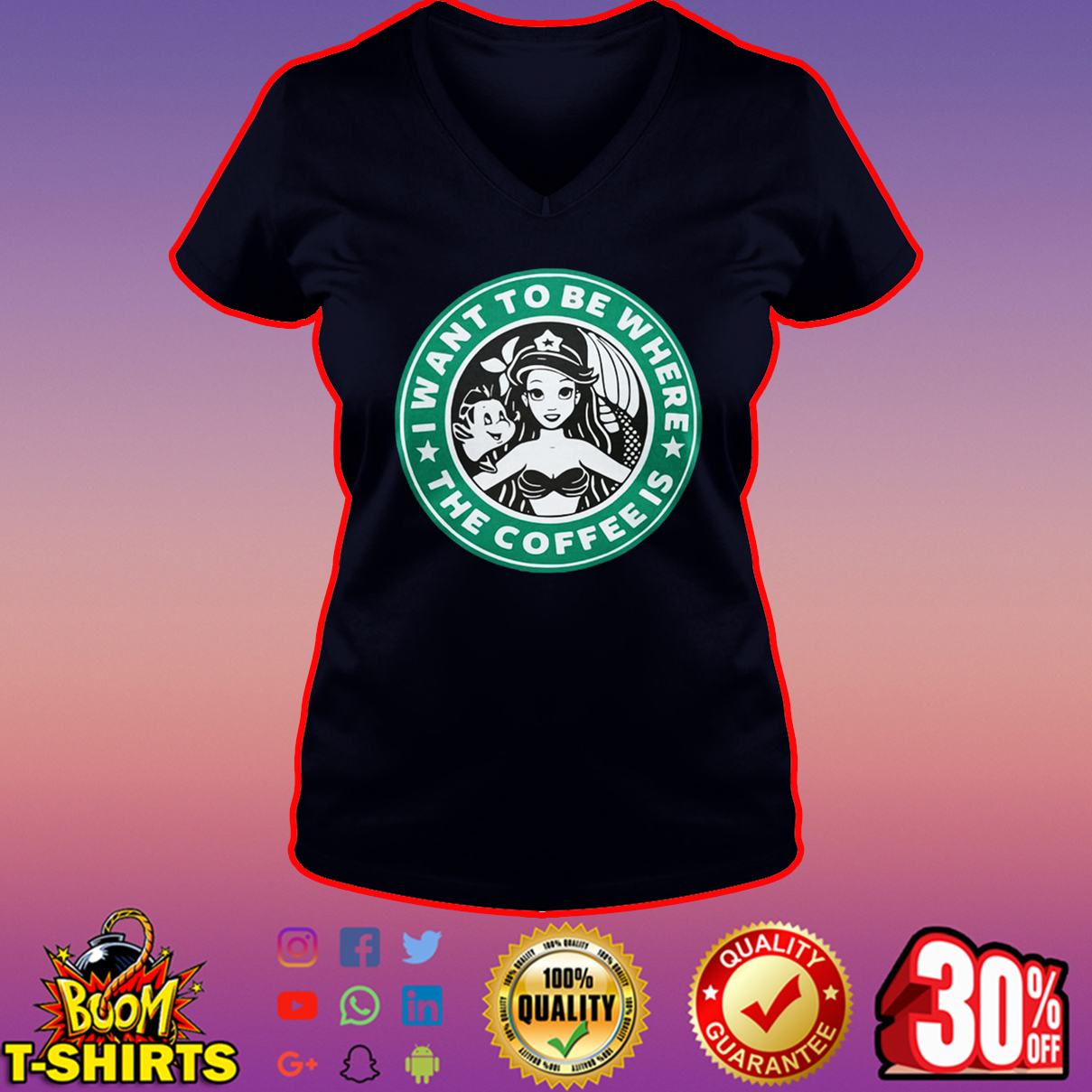 I want to be where the coffee is Ariel Starbucks v-neck
