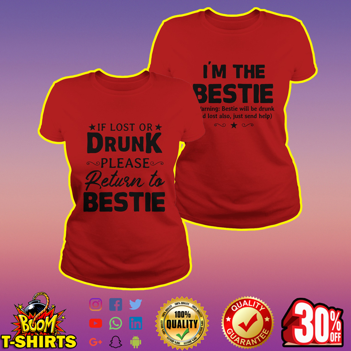 If lost or drunk please return to bestie shirt - red