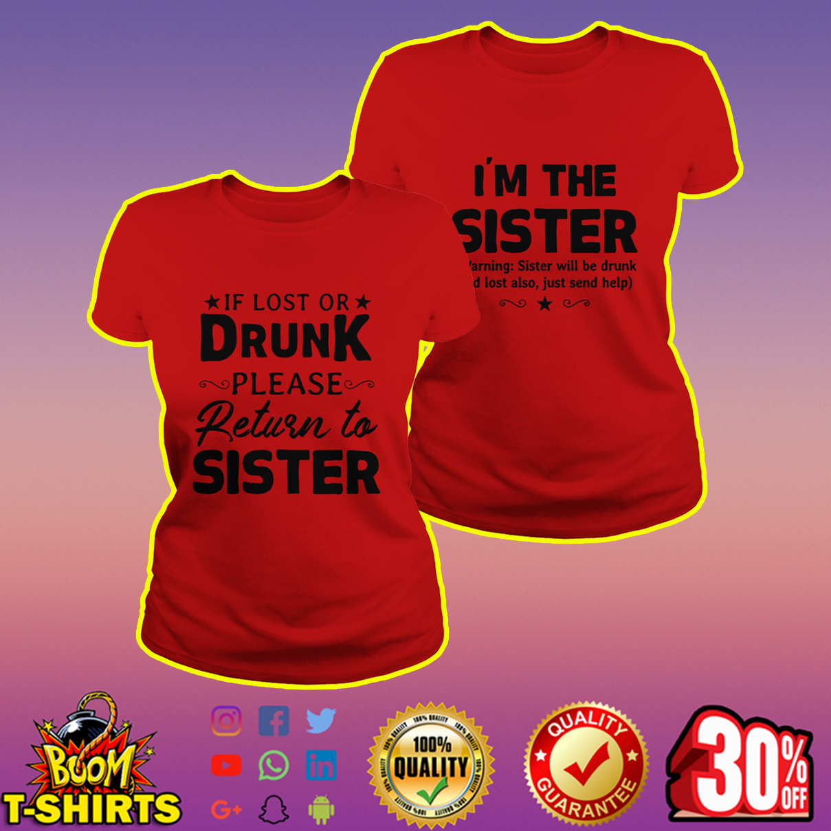 If lost or drunk please return to sister shirt - red