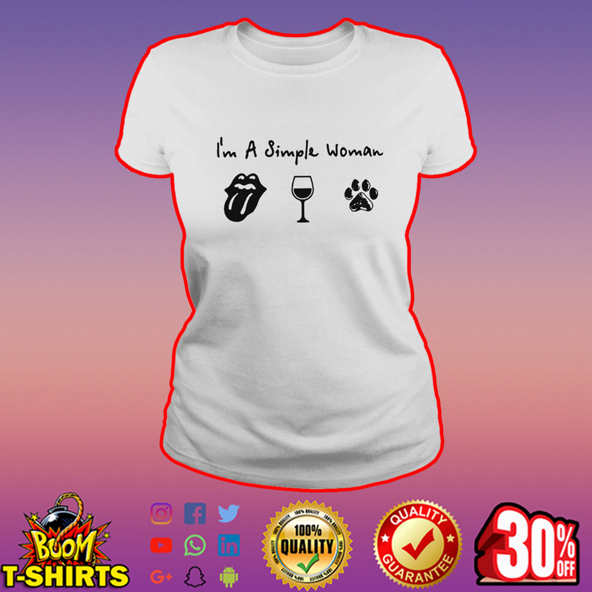 I'm a simple woman the Rolling Stones wine and dog shirt