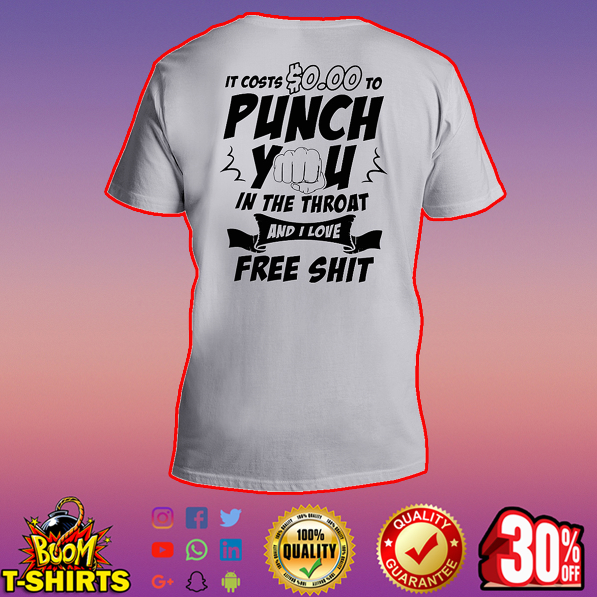 It costs $0.00 to punch you in the throat and I love free shit v-neck