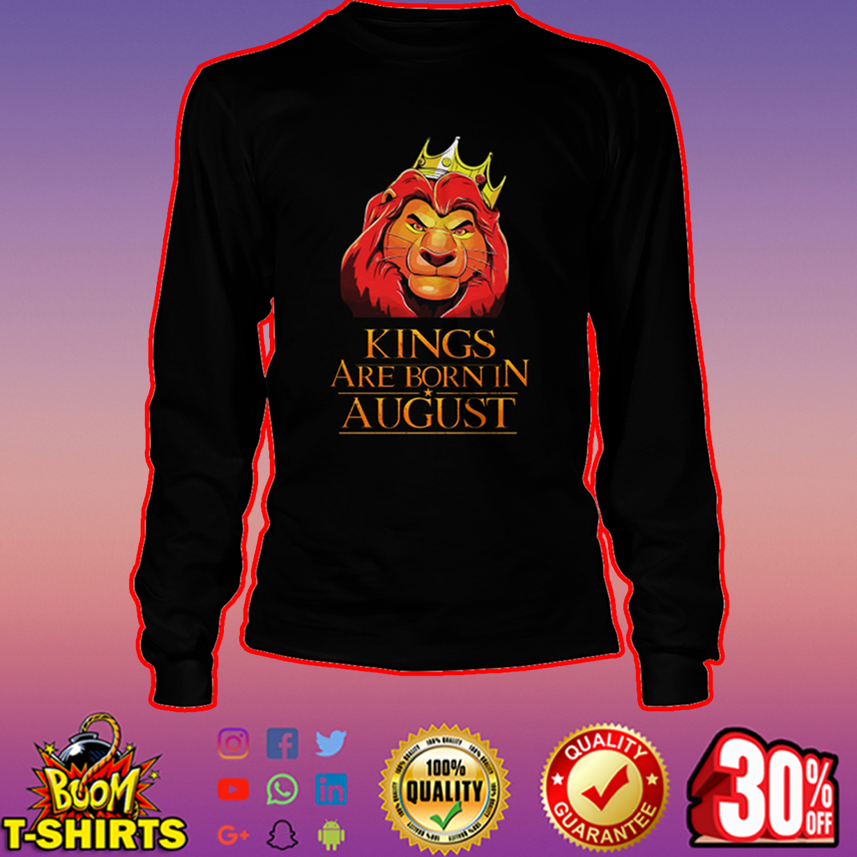 Lion king kings are born in august long sleeve tee