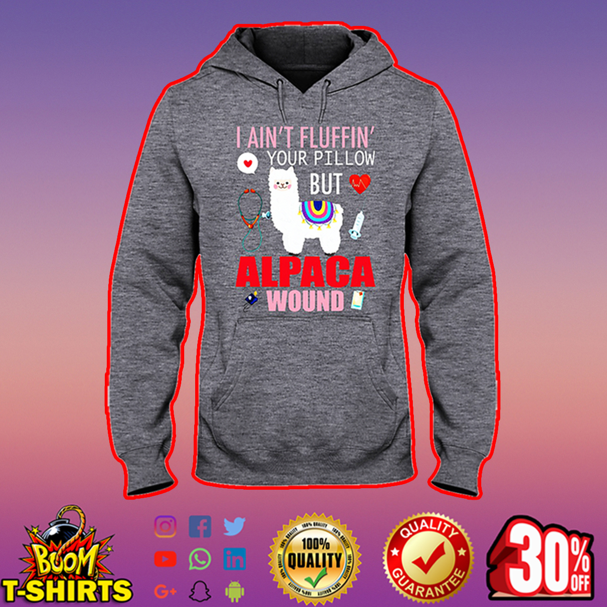 Llama I ain't fluffin' your pillow but alpaca wound hooded sweatshirt