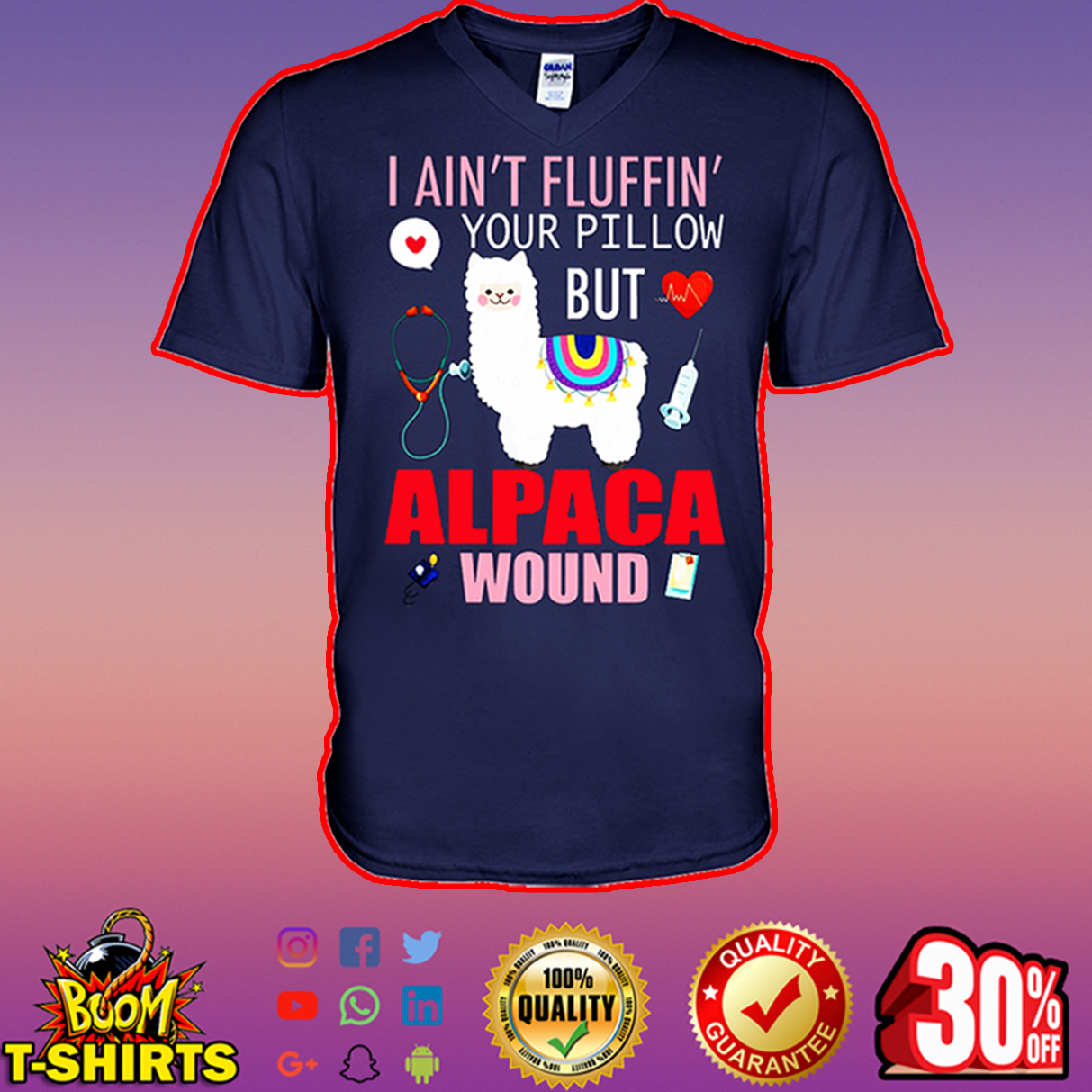 Llama I ain't fluffin' your pillow but alpaca wound v-neck