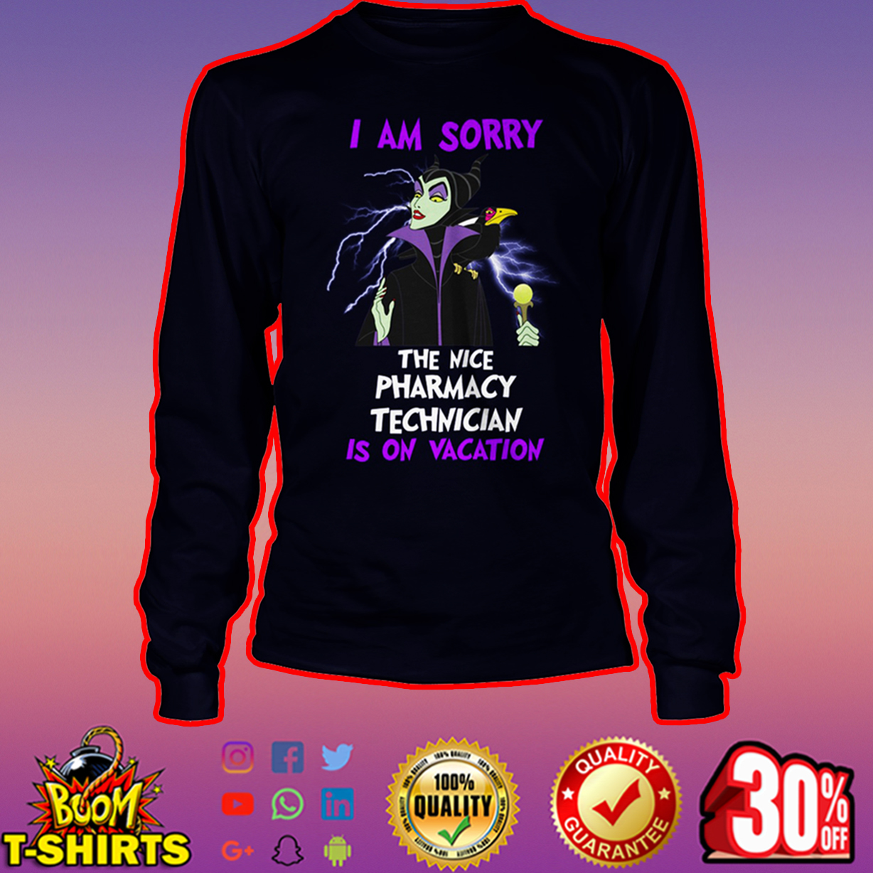 Maleficent I am sorry the nice pharmacy technician is on vacation long sleeve tee