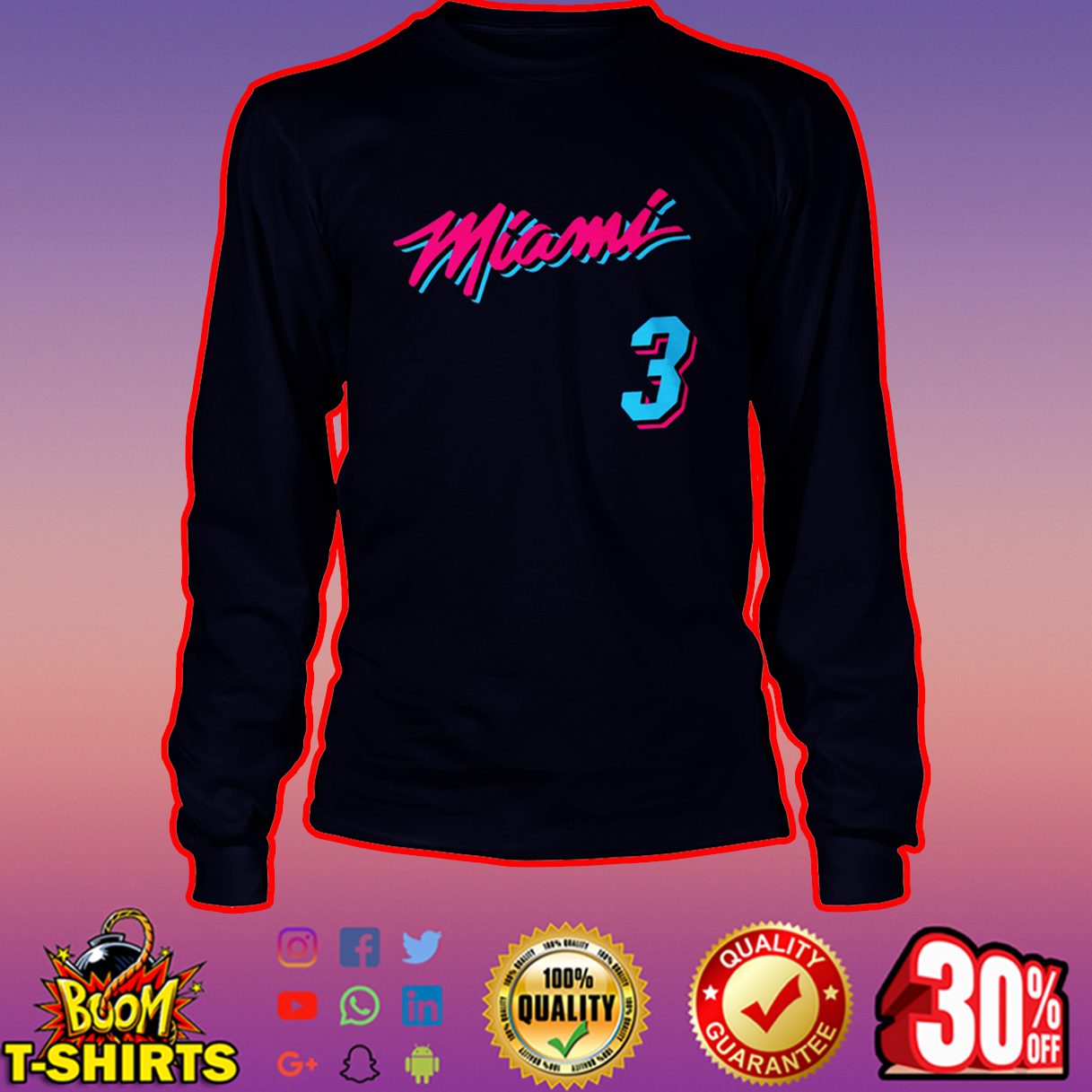 Miami Heat 3 long sleeve tee