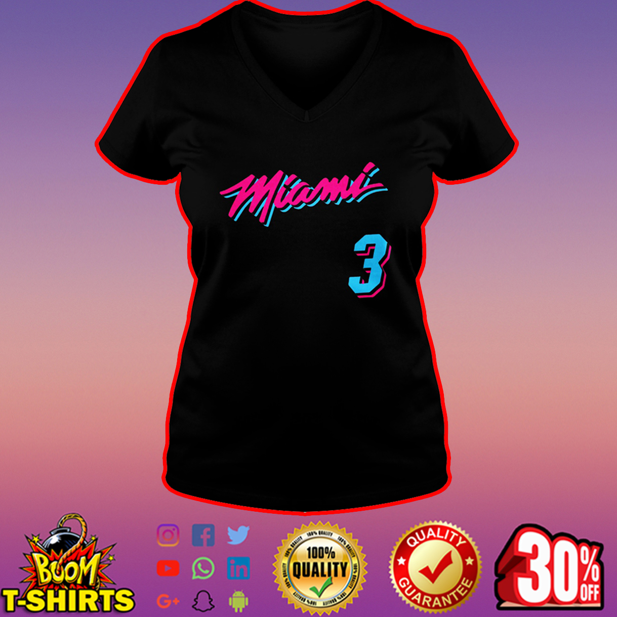 Miami Heat 3 v-neck