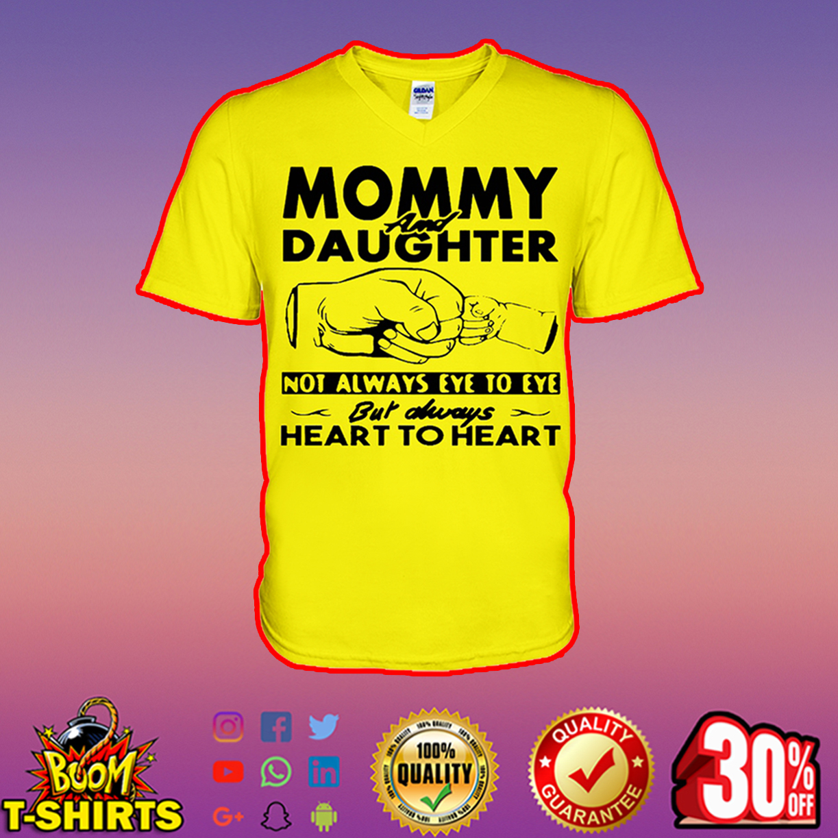 Mommy and daughter not always eye to eye but always heart to heart v-neck