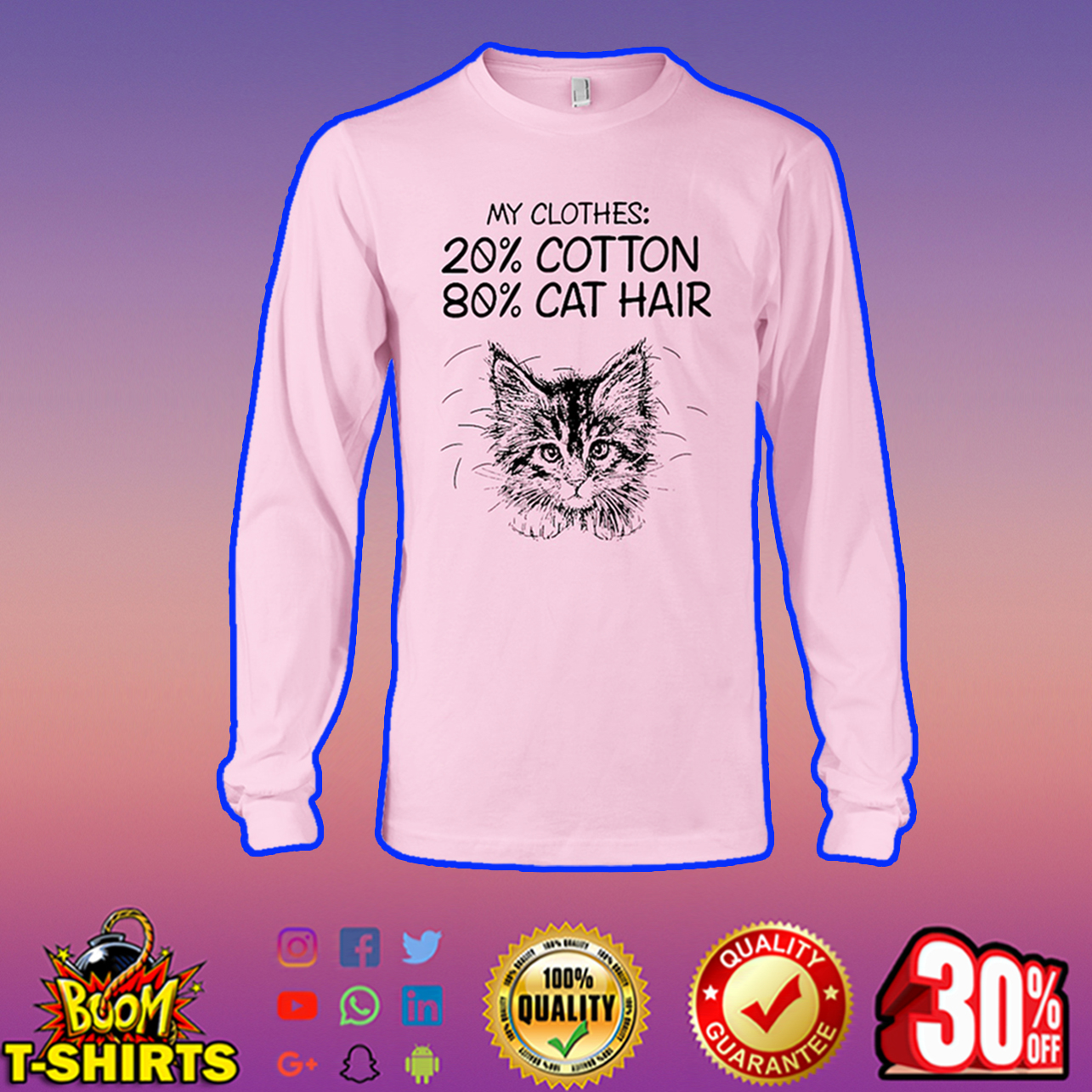My clothes 20% cotton 80% cat hair long sleeve tee