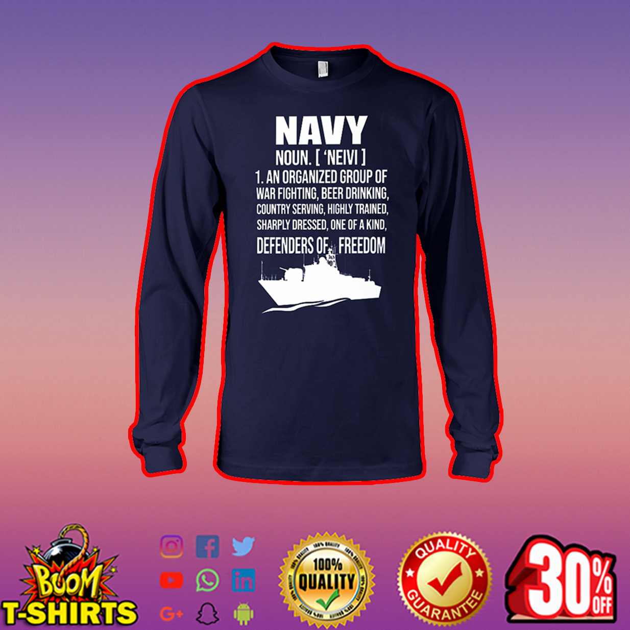 Navy noun an organized group of war fighting beer drinking country serving long sleeve tee
