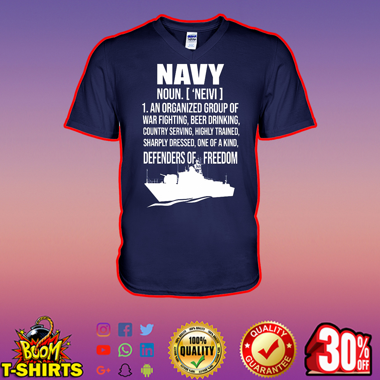 Navy noun an organized group of war fighting beer drinking country serving v-neck