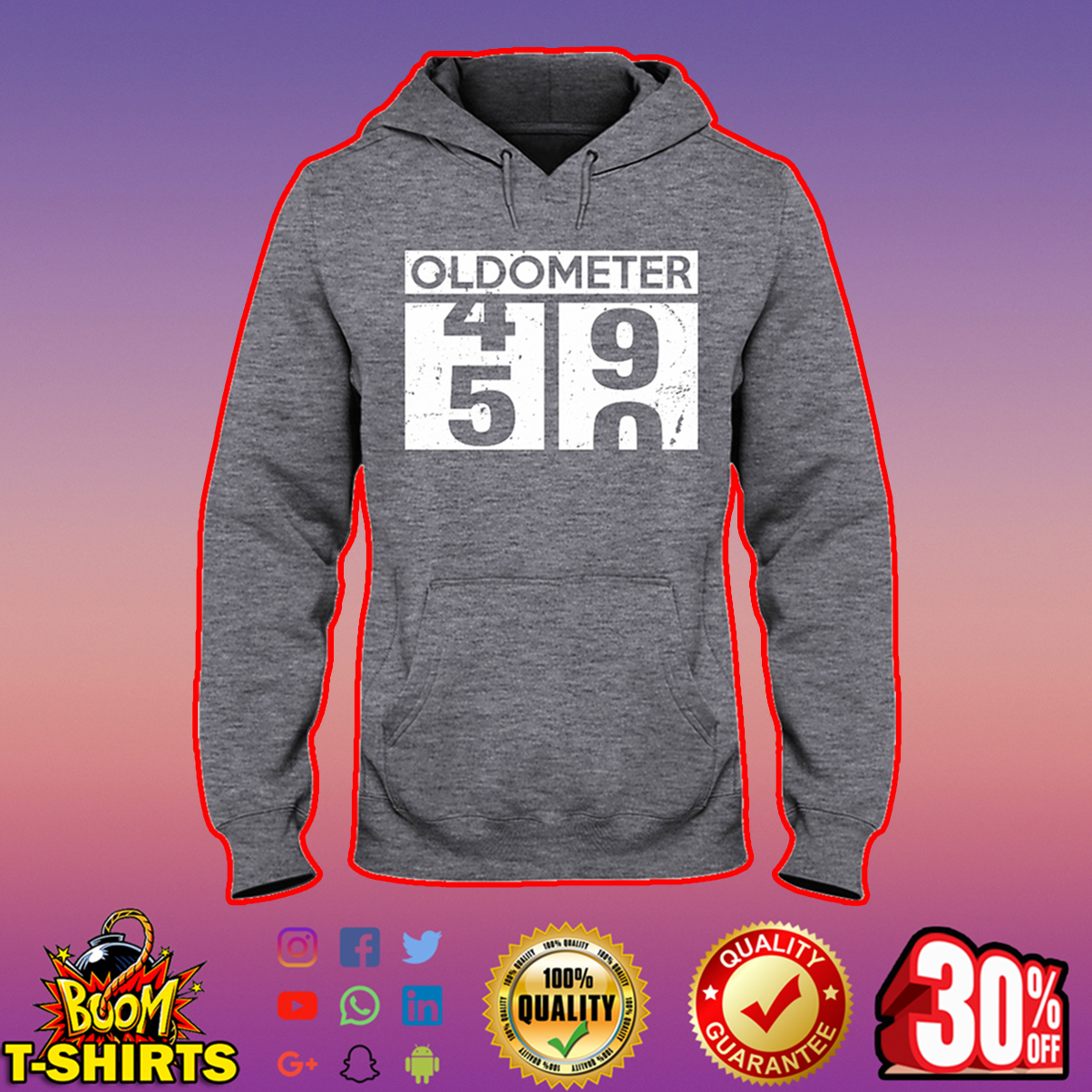 Oldometer 49 50 50th Birthday hooded sweatshirt