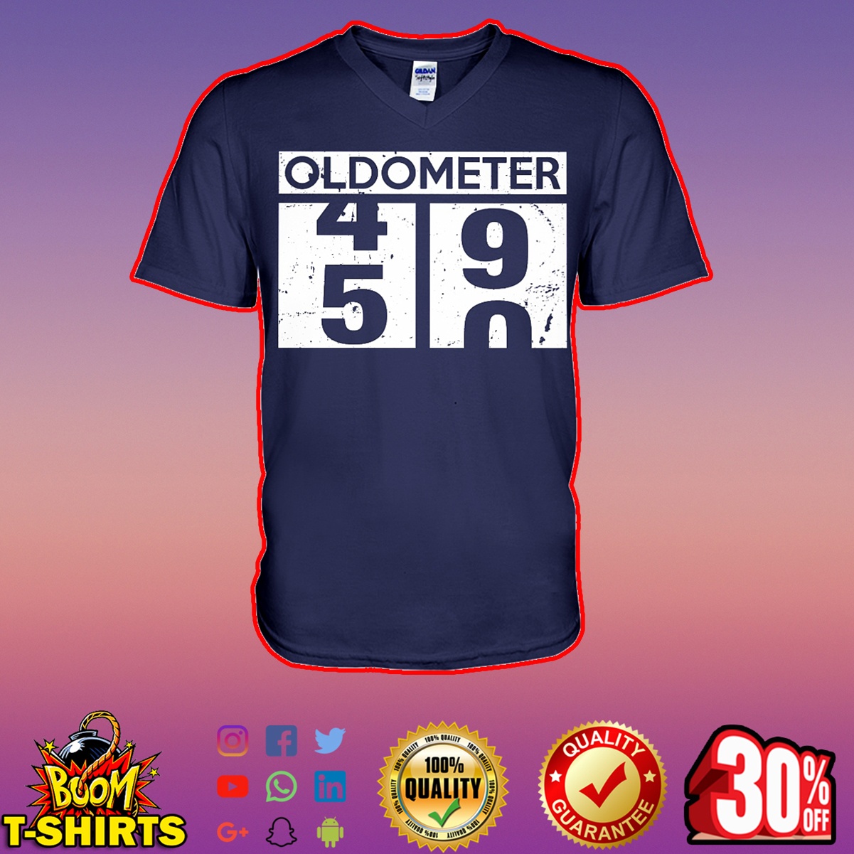 Oldometer 49 50 50th Birthday v-neck