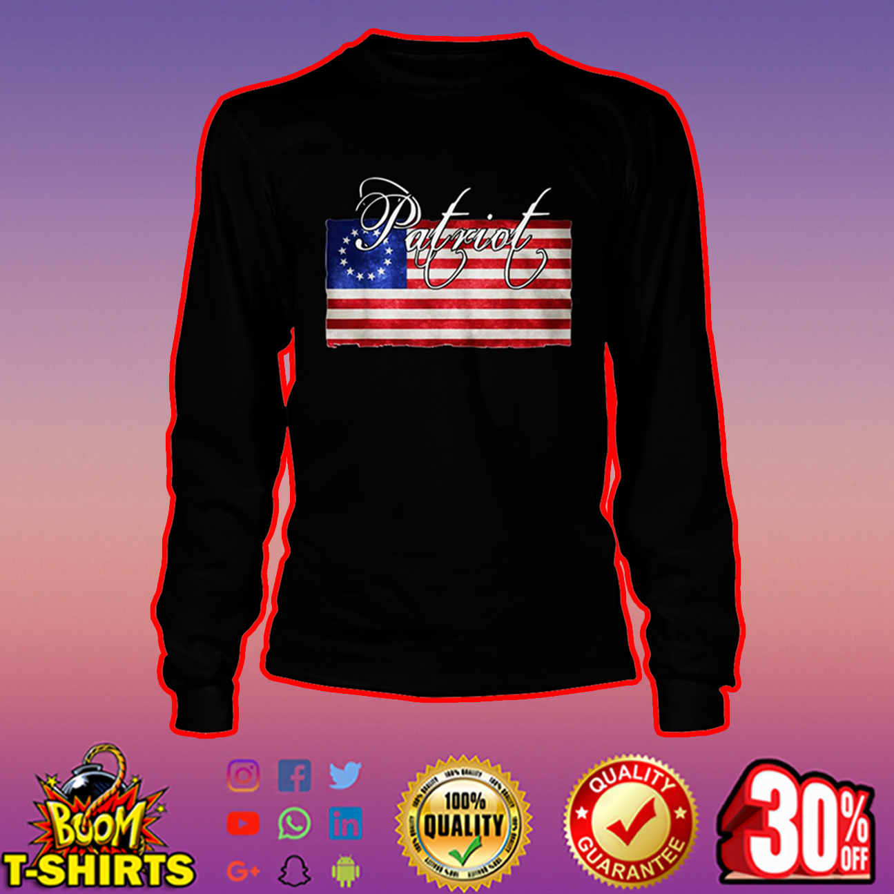Patriot Betsy Ross flag long sleeve tee