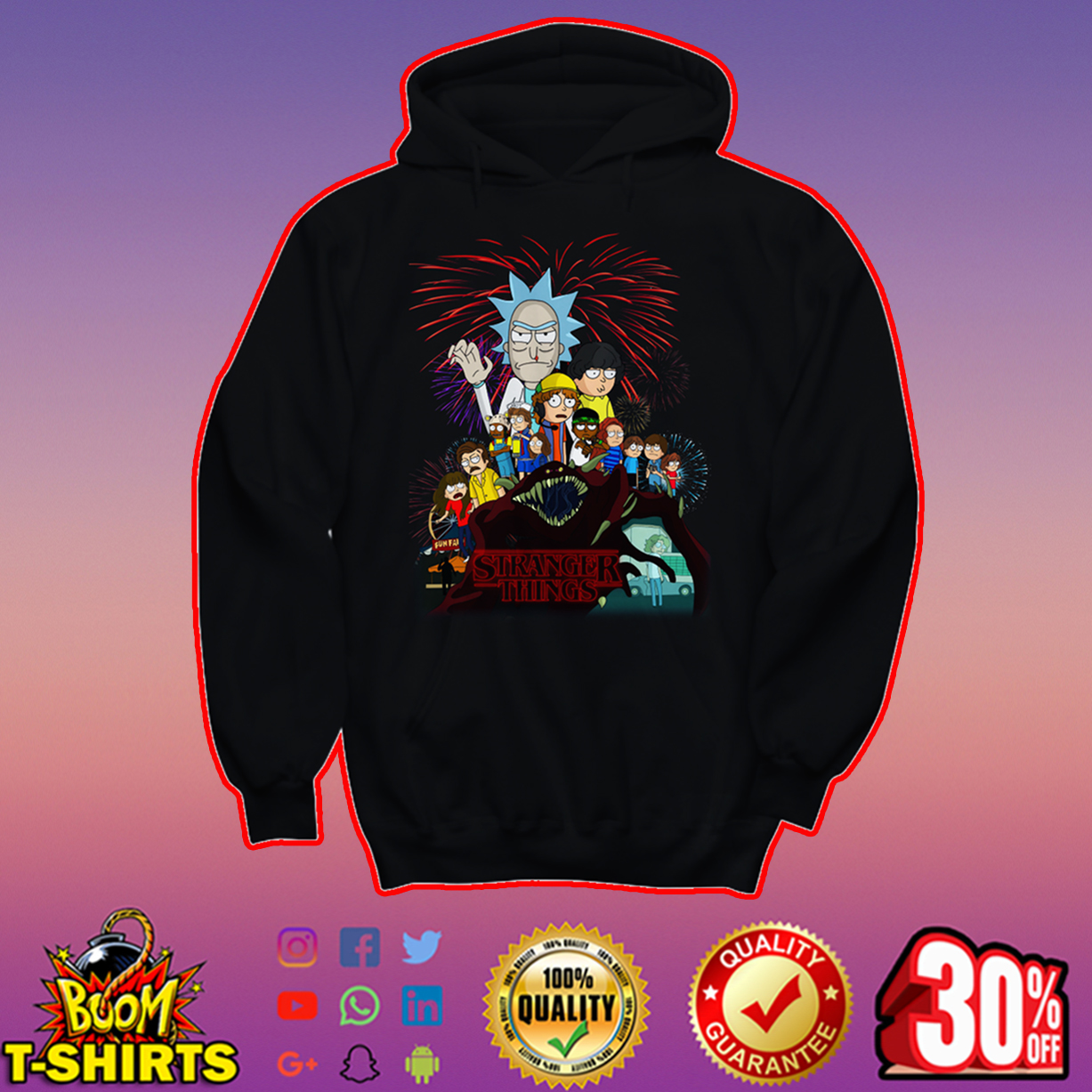 Rick and Morty x Stranger Things hoodie