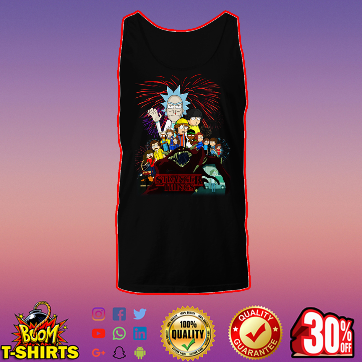 Rick and Morty x Stranger Things tank top