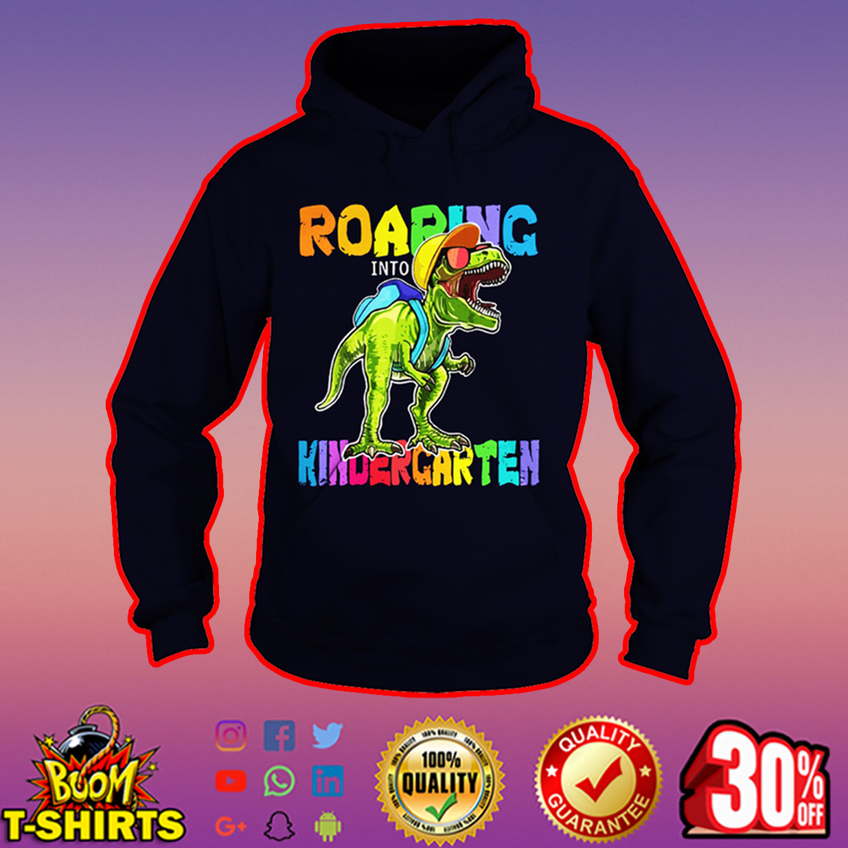 Roaring Kindergarten Dinosaur T-Rex hoodie