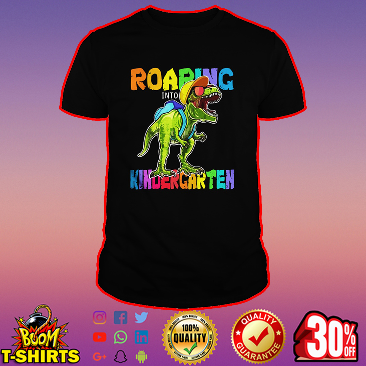 Roaring Kindergarten Dinosaur T-Rex shirt