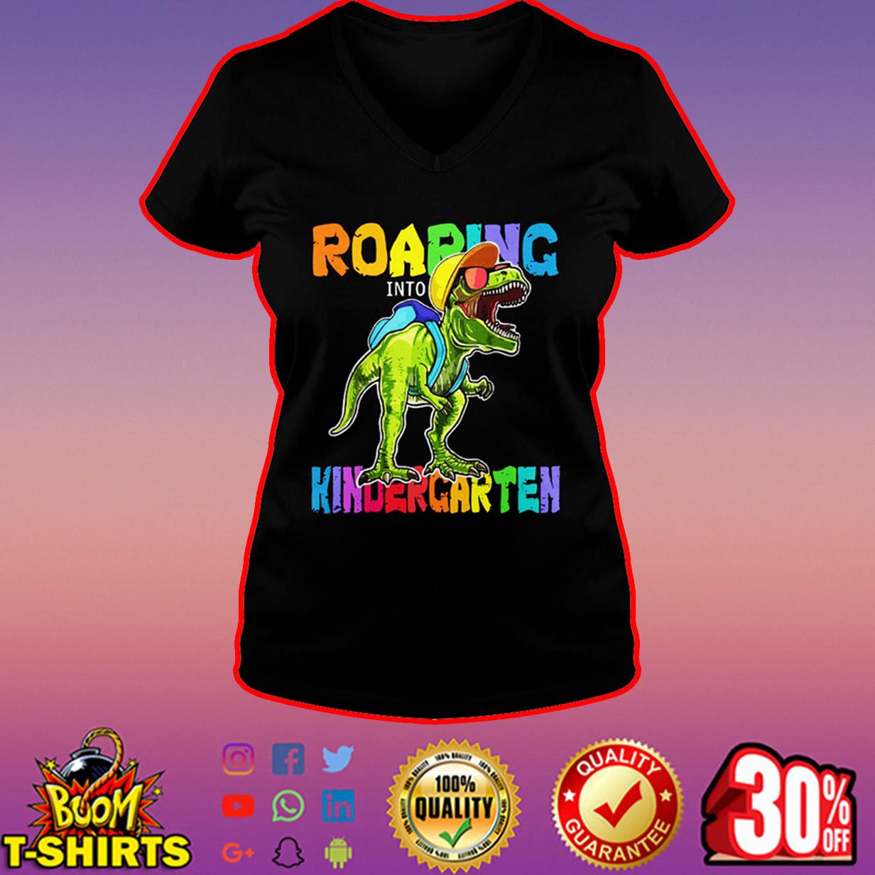 Roaring Kindergarten Dinosaur T-Rex v-neck