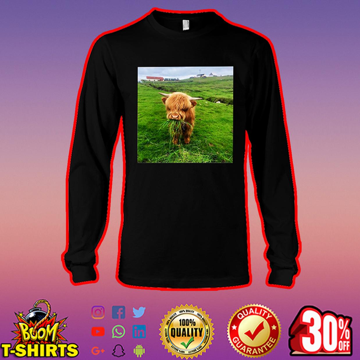 Scottish Highland Cow Eating Grass long sleeve tee