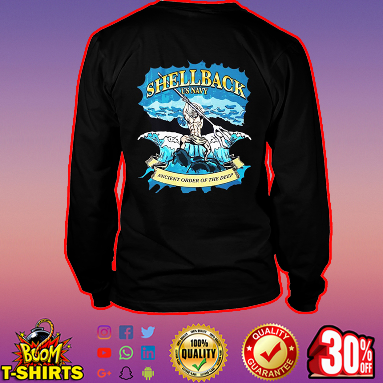 Shellback US Navy ancient order of the deep long sleeve tee