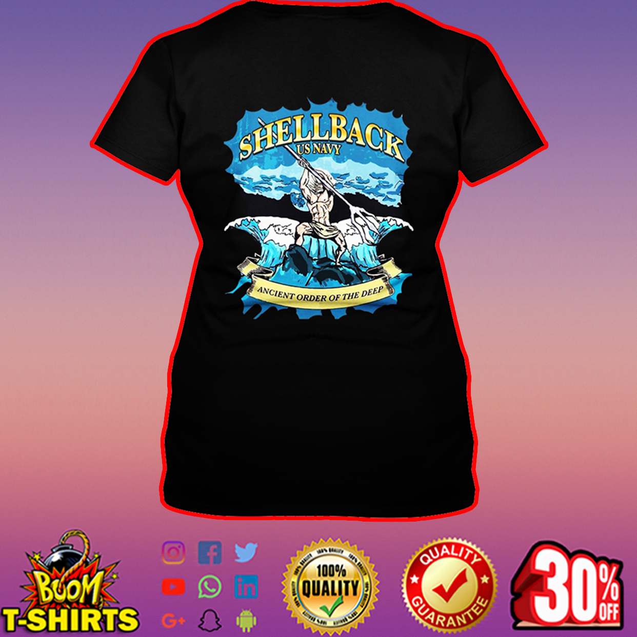 Shellback US Navy ancient order of the deep v-neck