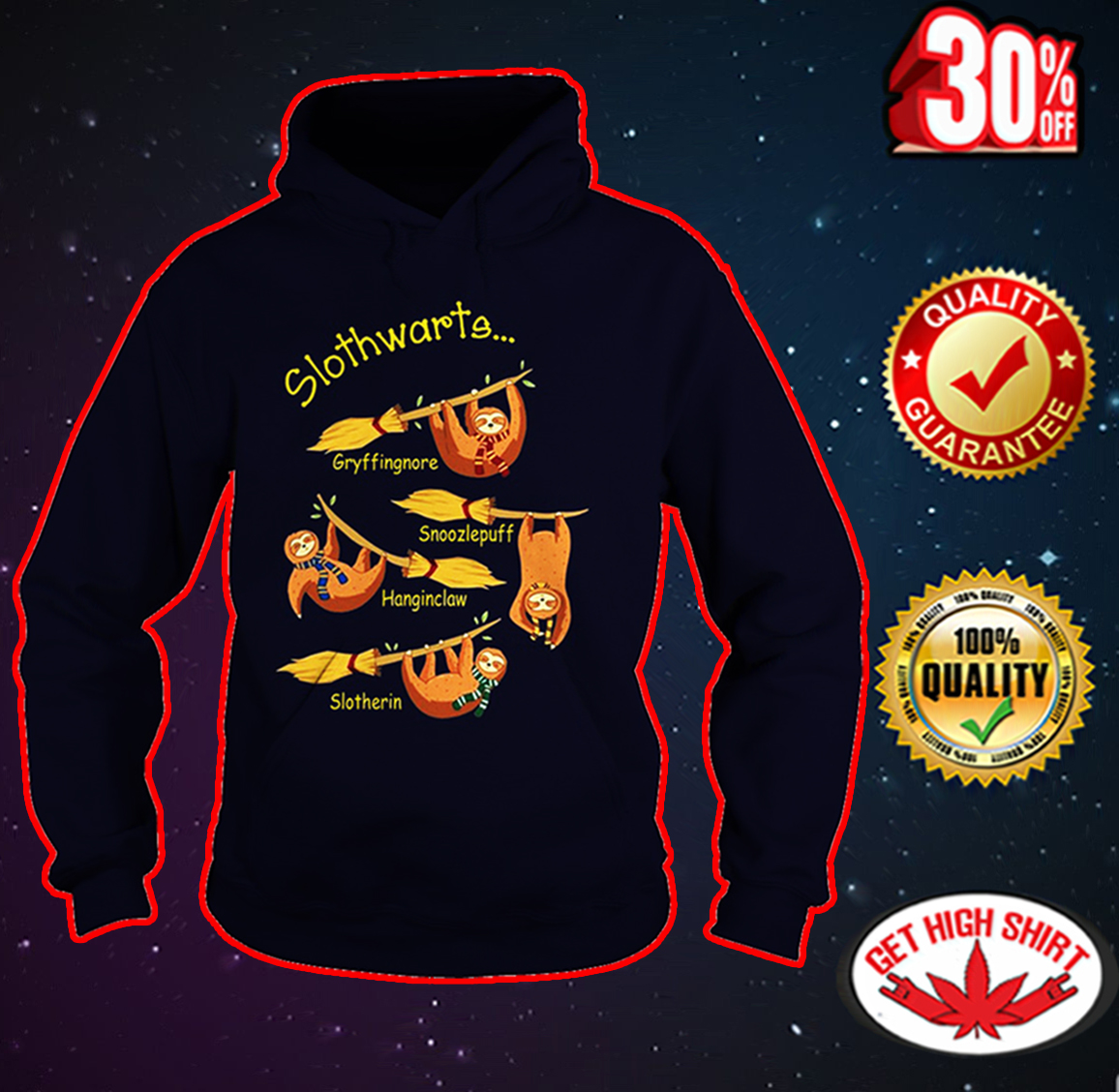 Slothwarts Gryffinsnore Snoozlepuff Hanginclaw Slotherin hoodie