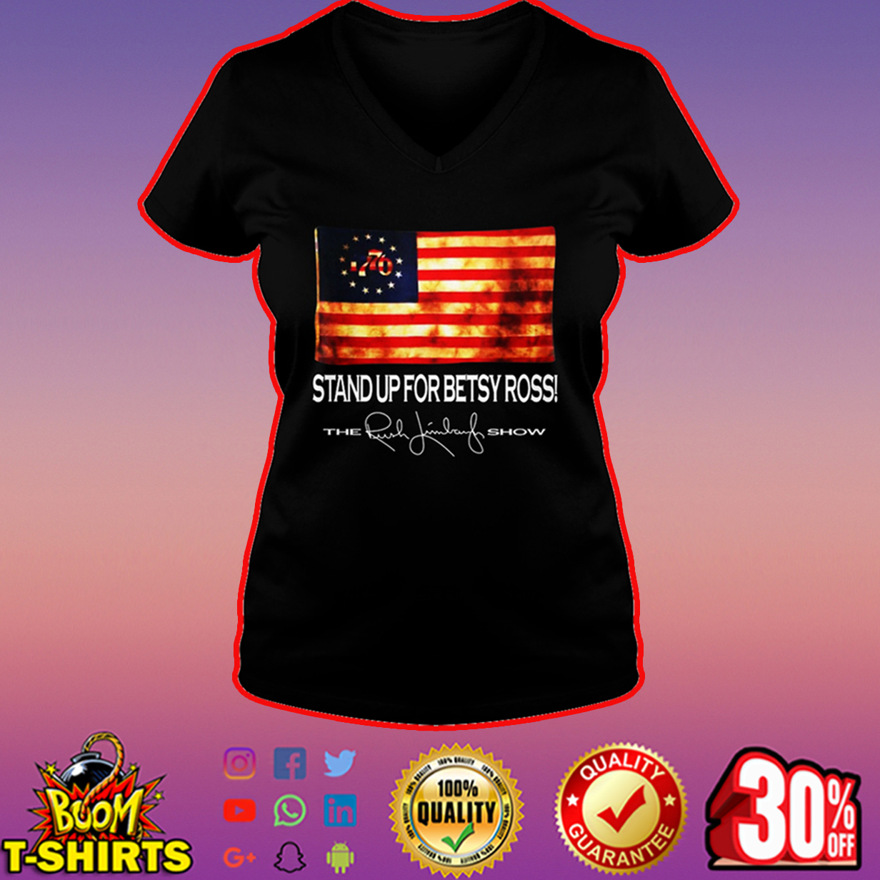 Stand up for Betsy Ross the Rush Limbaugh show v-neck