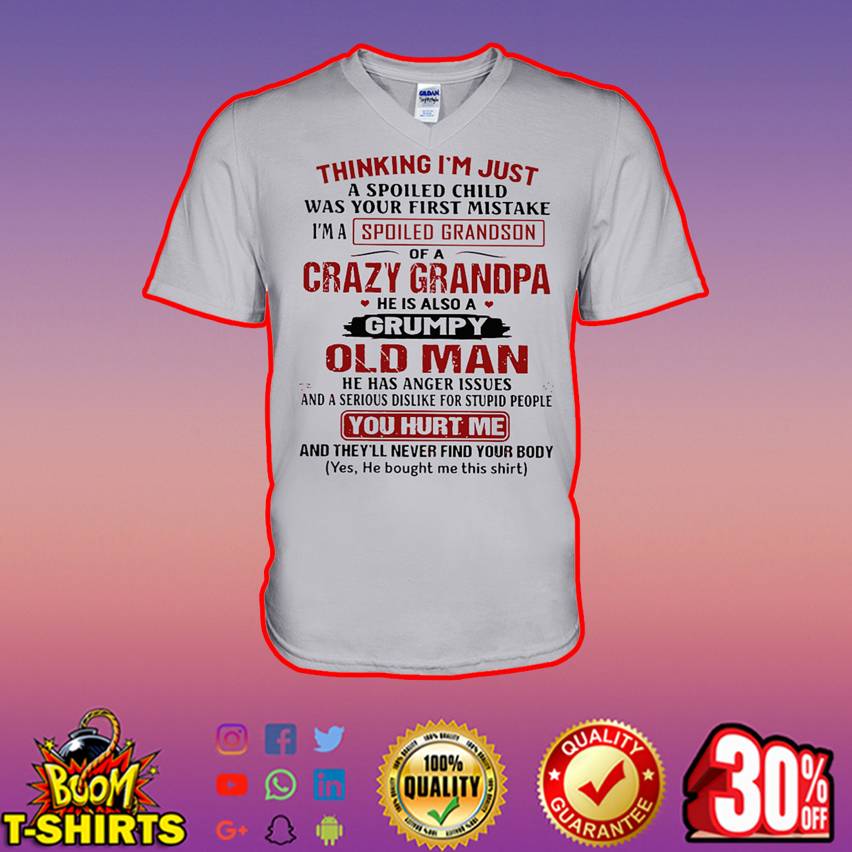 Thinking I'm just a spoiled child was your first mistake I'm a spoiled grandson of a crazy grandpa v-neck