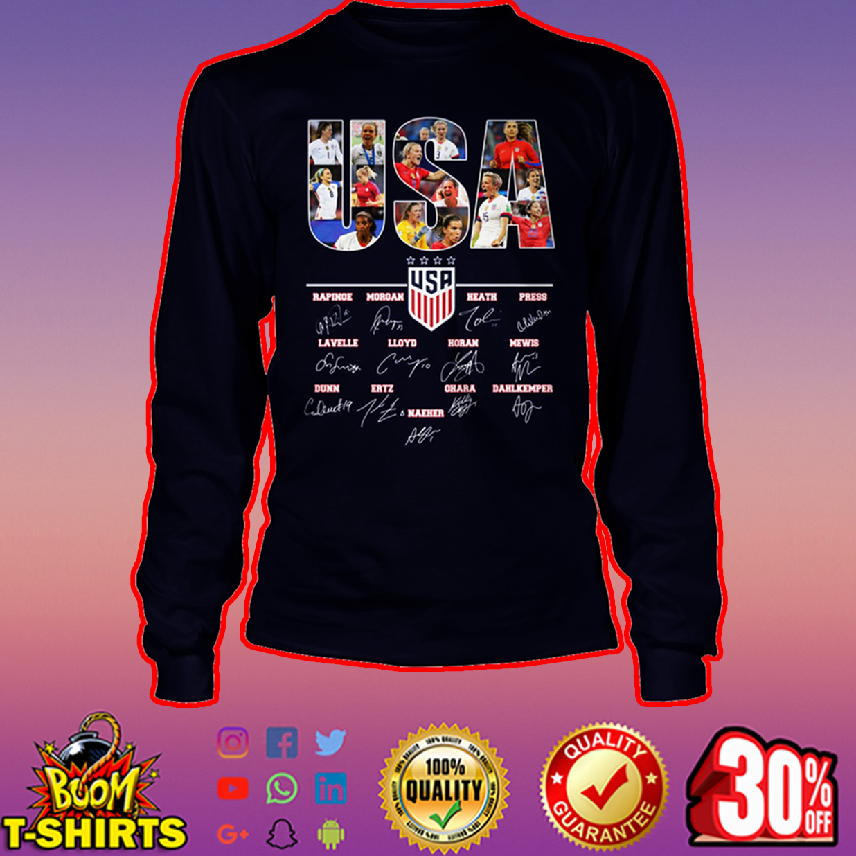 US women's national soccer team all players signature long sleeve tee