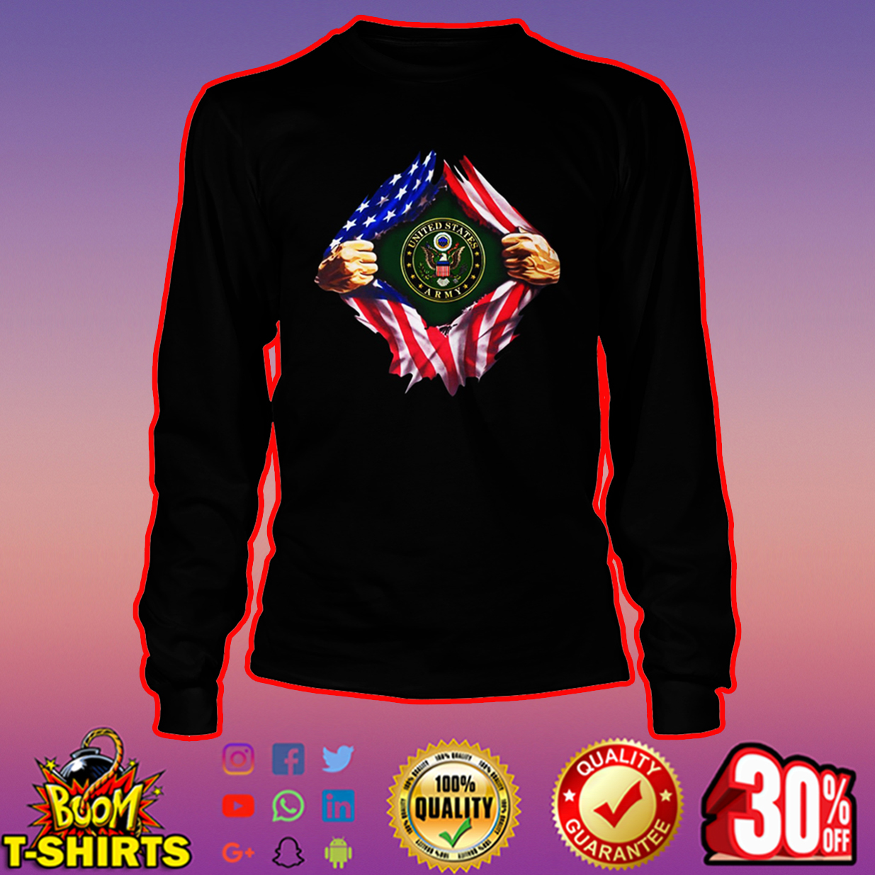 United States Army inside me long sleeve tee