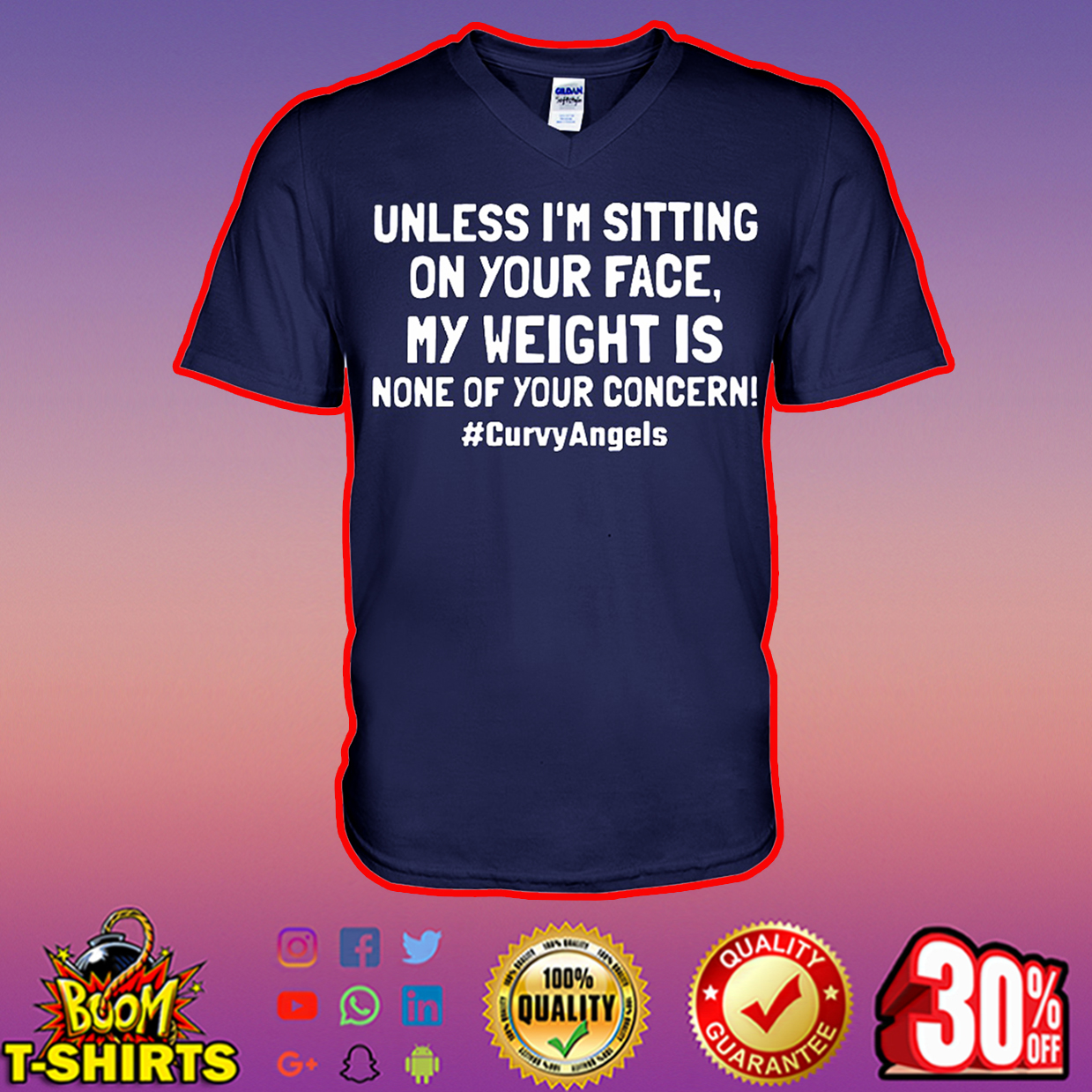 Unless I'm sitting on your face my weight is none of your concern Curvy Angels v-neck