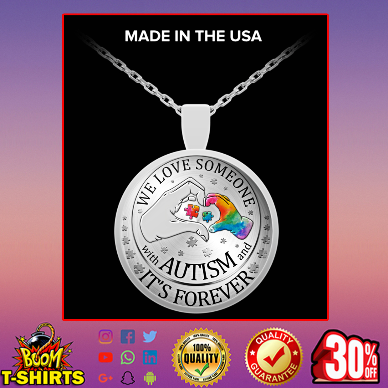 We love someone with autism and it's forever necklace