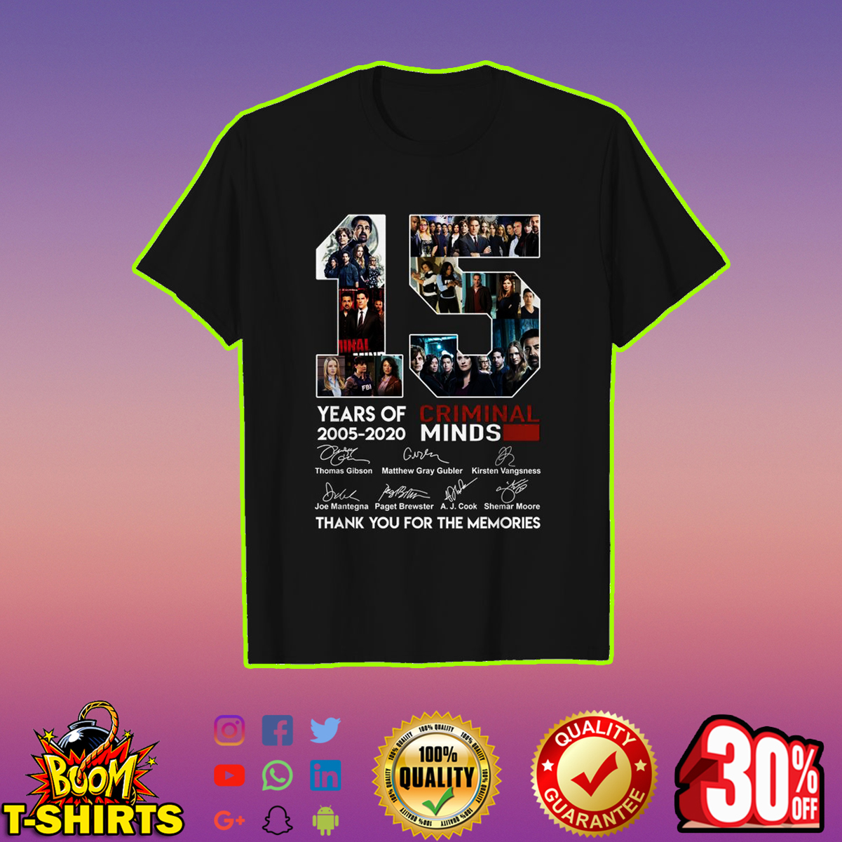 15 years of Criminal Minds thank you for the memories shirt