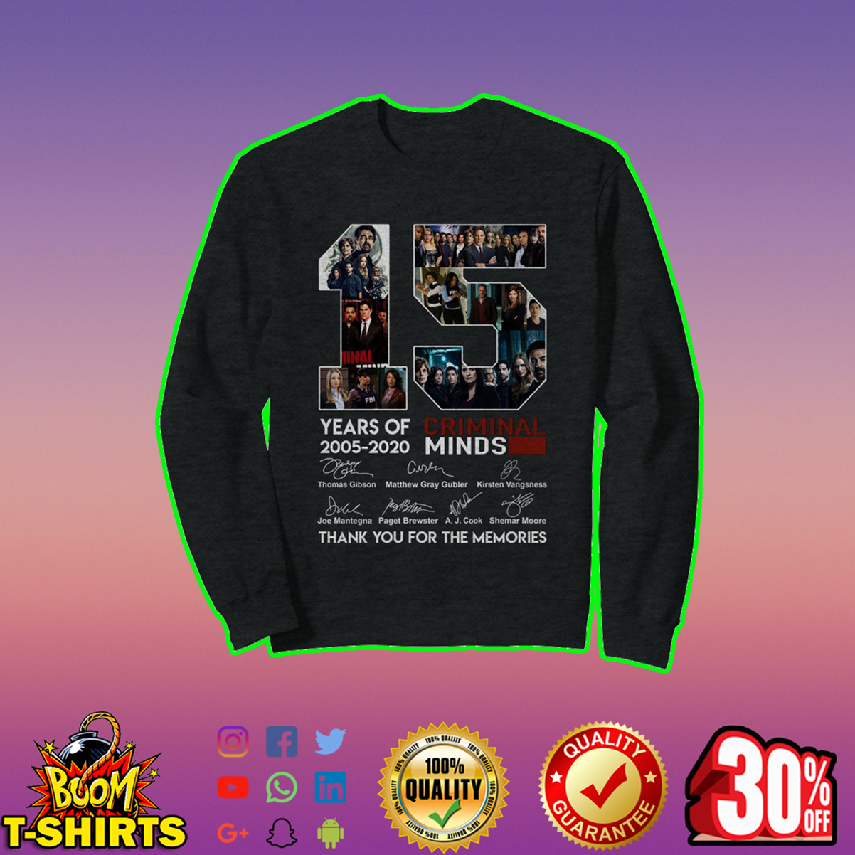 15 years of Criminal Minds thank you for the memories sweatshirt