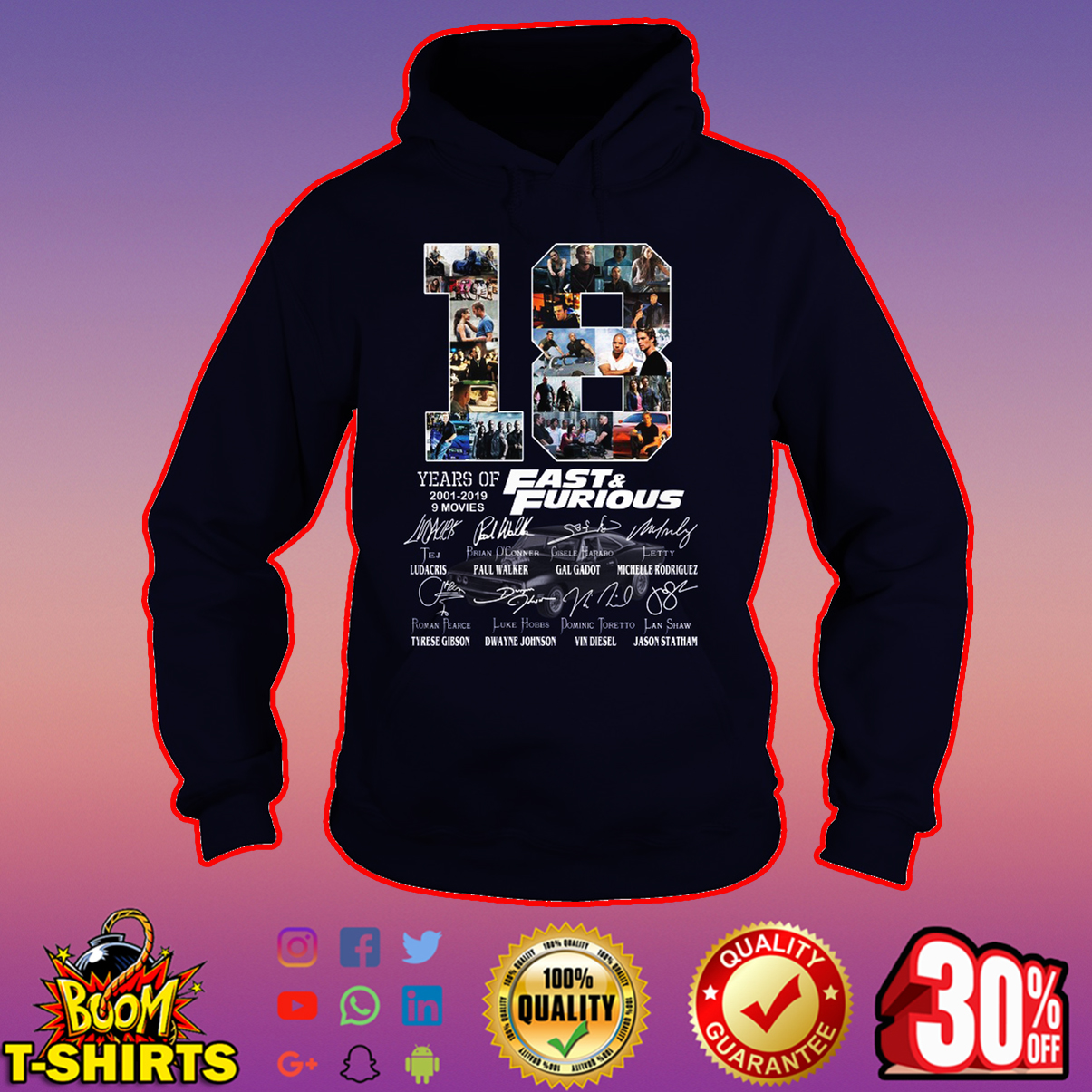 18 years of Fast & Furious all actor signature hoodie