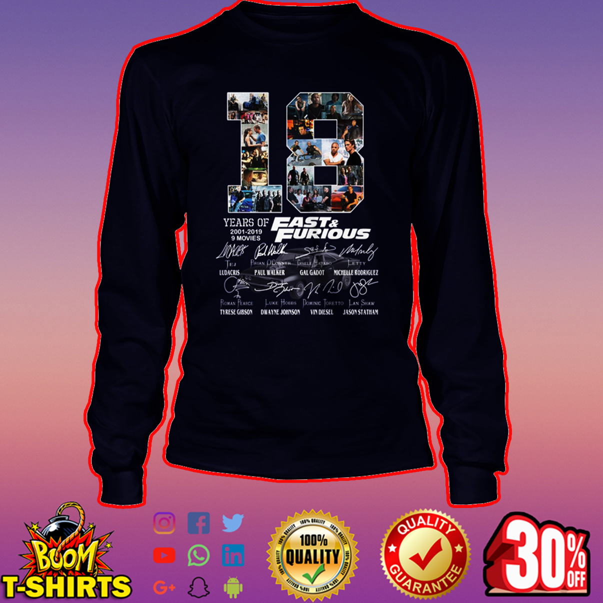 18 years of Fast & Furious all actor signature long sleeve tee