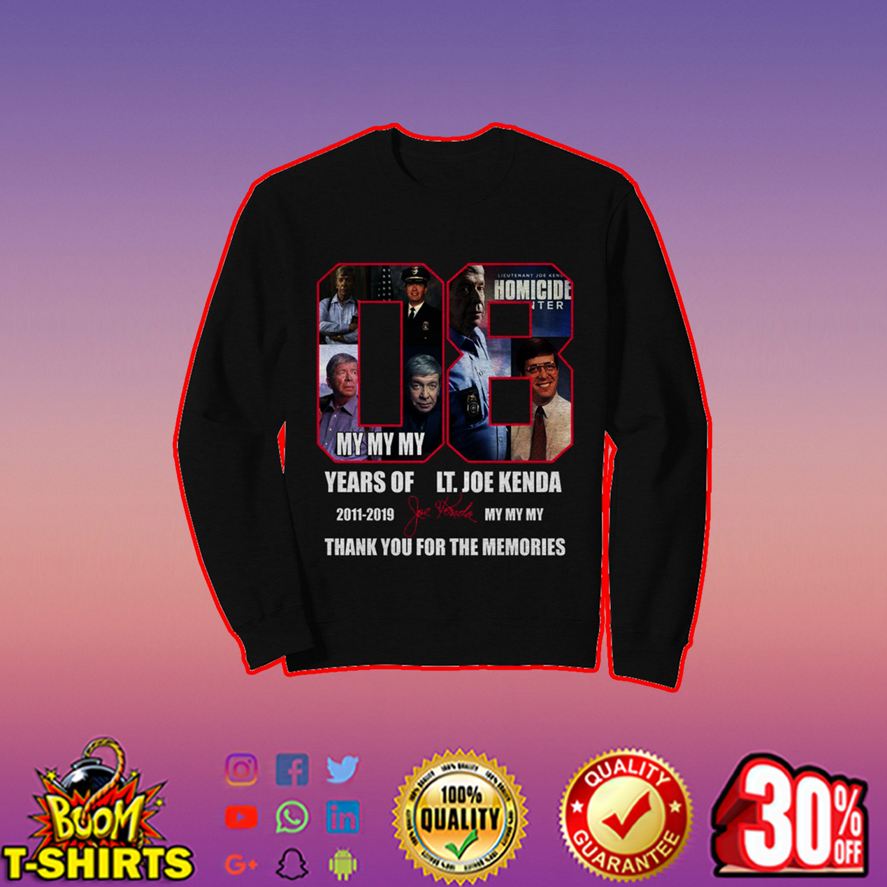 8 years of LT Joe Kenda thank you for the memories sweatshirt