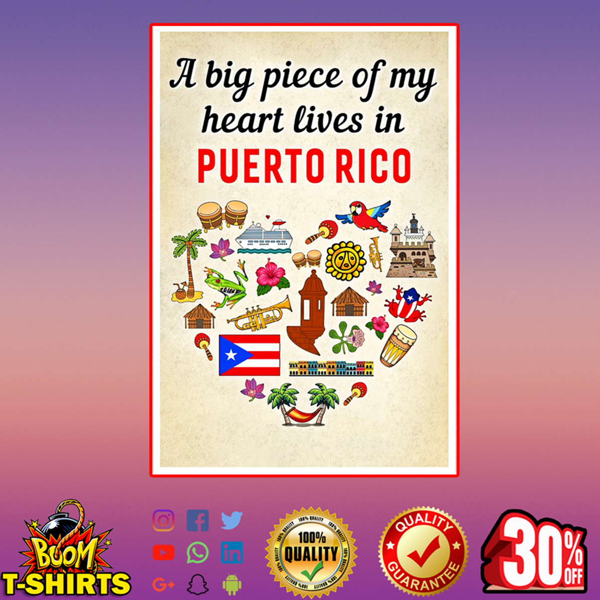 A big piece of my heart lives in Puerto Rico poster