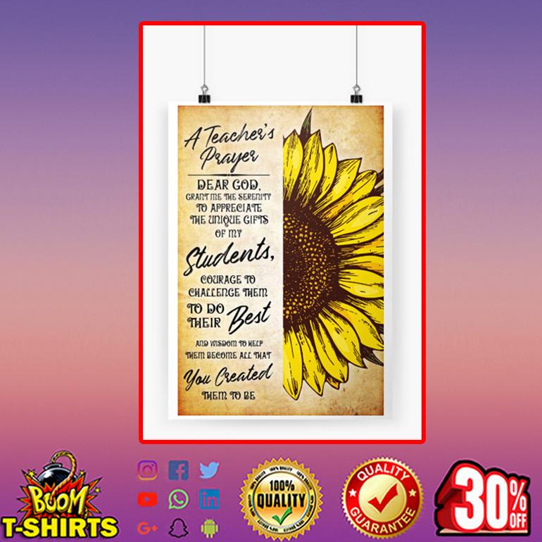 A teacher's prayer sunflower poster A3 (297 x 420mm)