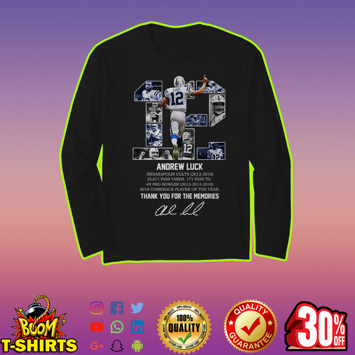 Andrew Luck thank you for the memories long sleeve t-shirt