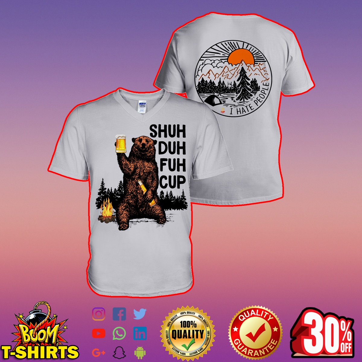 Bear drinking beer shuh duh fuh cup I hate people camping v-neck