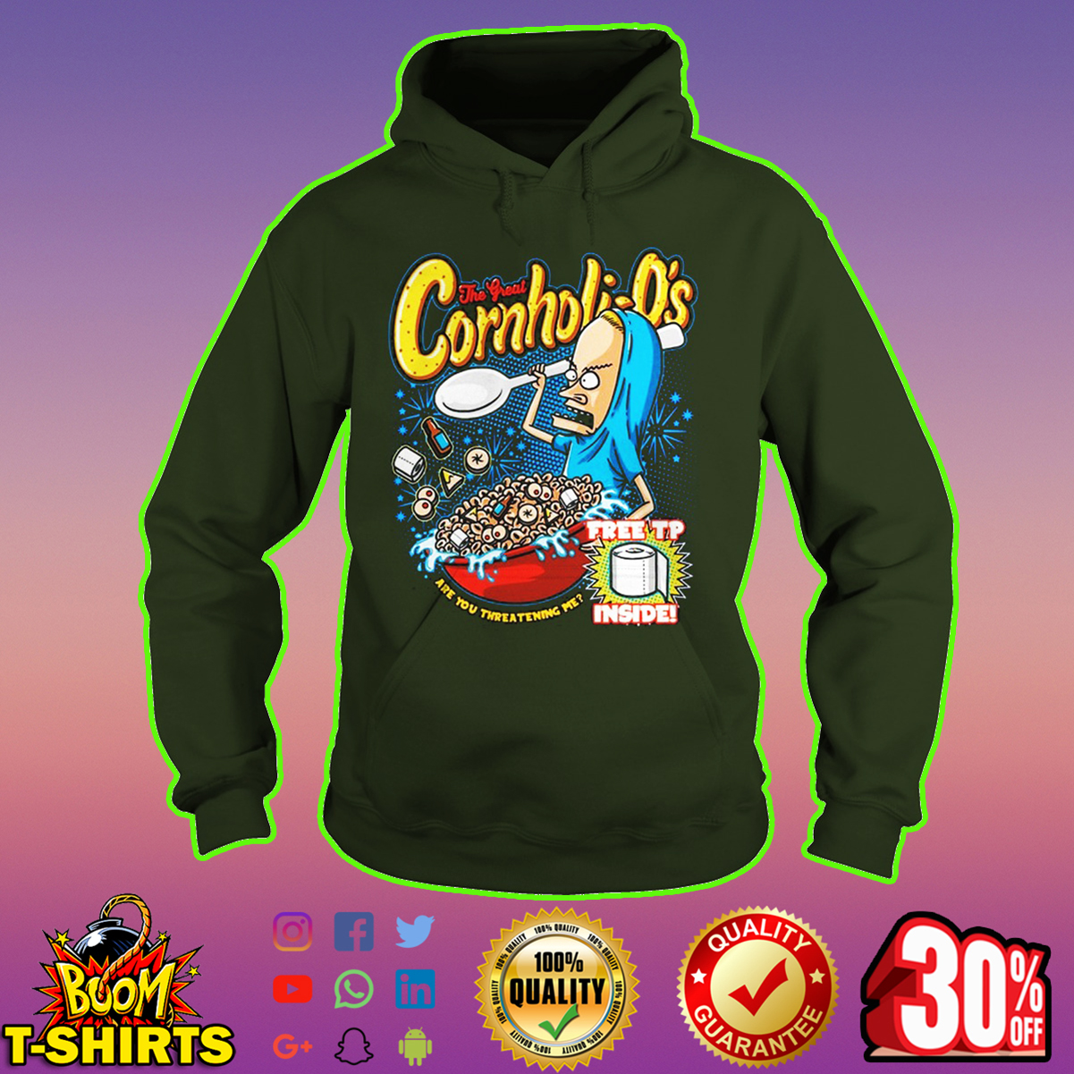 Beavis the great Cornholio free tp inside hoodie